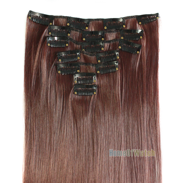 "7pcs/set 24""/60cm women Long Straight Clip in Hair Extensions Heat Resistent brown Brown hair piece (NWG0HE61087-XL2)(China (Mainland))"