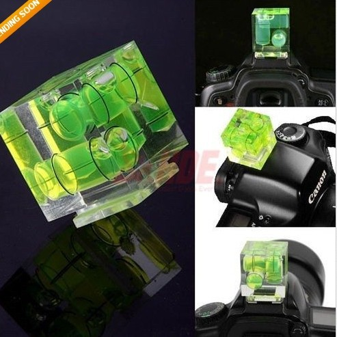 New Triple 3 Axis Bubble Spirit Level Hot Shoe Adapter Photo Studio Accessories For Dslr Slr Cameras(China (Mainland))