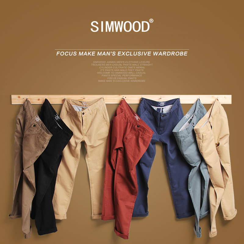 Simwood Brand Autumn Winter New Fashion 2016 Slim Straight Men Casual Pants Man Pocket Trousers Plus Size Free Shipping KX6033(China (Mainland))