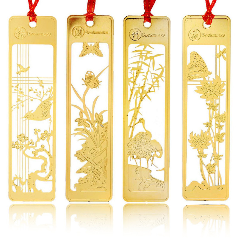 4pcs/lot Classical Chinese Style Metal Bookmark Merlin Bamboo Chrysanthemum Plum Orchid Vintage Book Marks Gifts(China (Mainland))