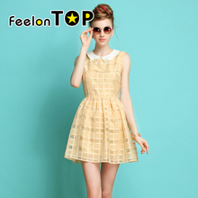 Blue Beige Beading Decoration Bohemian Solid Pleated Ice Cotton Dress New 2016 Designer Summer Clothing For Women(China (Mainland))