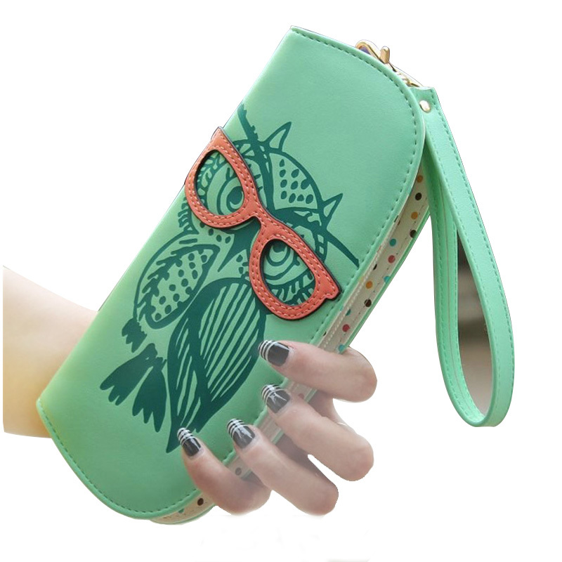 Wallets Purse Cute Owl Glasses Hit Color Printing Korean Rounded Zipper Long Women Wallet New Ladies' Clutch Card & Id Holders(China (Mainland))