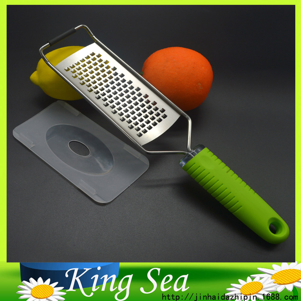 Free shipping Stainless Steel Kitchen Vegetables Cheese Zester Microplane Grater Lemon/Cheese Zester With Green TPR handle(China (Mainland))