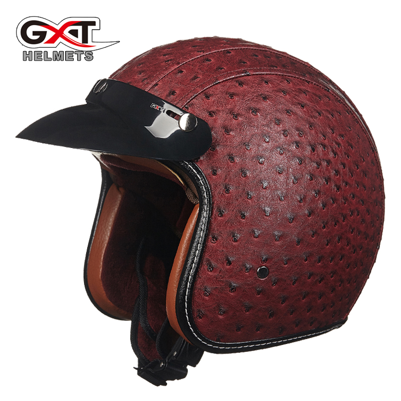 Top quality GXT vintage motorcycle helmet leather harley style retro helmet jet open face moto helmet casco capacete motoqueiro(China (Mainland))