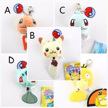 Free shipping Cartoon Pokemon figures keychains anime Pikachu Bulbasaur Squirtle cute pendants Wholesale Plush key ring