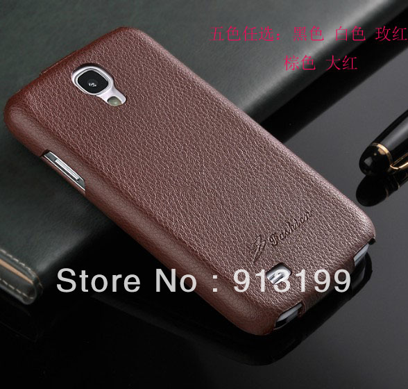 Free Shipping 2013 New Arrival Top Quality Original Fashion Genuine Leather Cases for Samsung Galaxy S4 i9500 Flip Cover