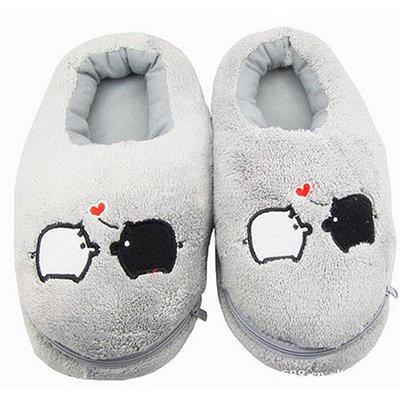 Cute Feet Warmer Grey Piggy Plush USB Foot Warmer Shoes Electric Heat Slipper USB Gadget AB(China (Mainland))