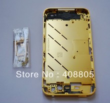 DHL free ship Gold plated middle Bezel Plate Frame Chassis Housing For iPhone 4S 4GS with side button sim tray, bottom screws(China (Mainland))