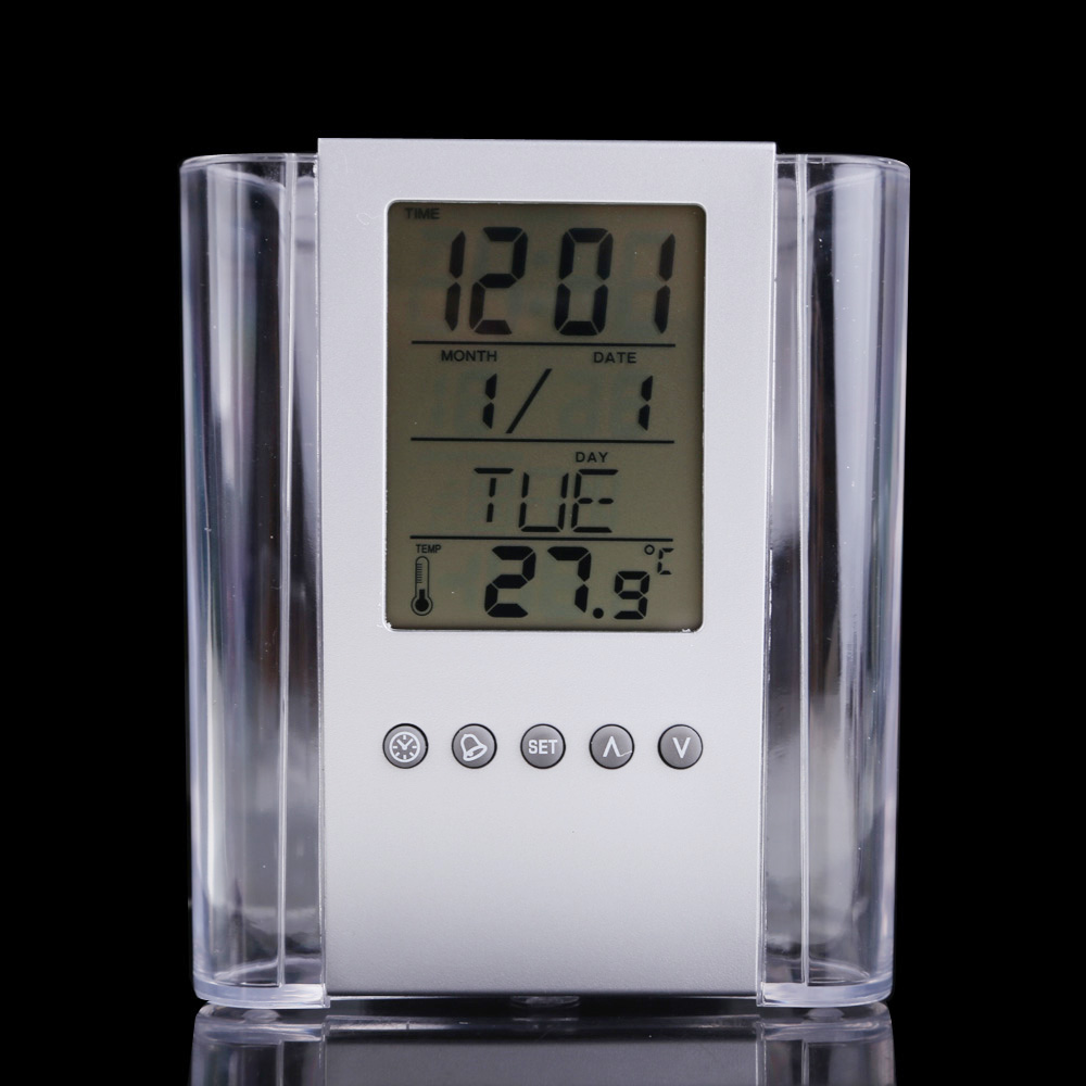 Transparent Multifunctional Pen holder Calendar Timer Thermometer Clock FG(China (Mainland))