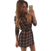 Sexy Slim Women Casual Dress 2016 Red Plaid Tartan Check Printed Dresses Loose O-neck Long Sleeve Mini Dress Office Thin Dresses