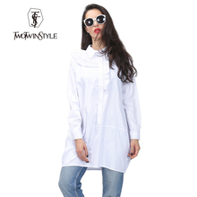 [TWOTWINSTYLE] Original 2016 Spring Layers Pressure Pleated Collar Loose Oversized Shirt Pure Cotton Long Sleeve Women Dress New(China (Mainland))