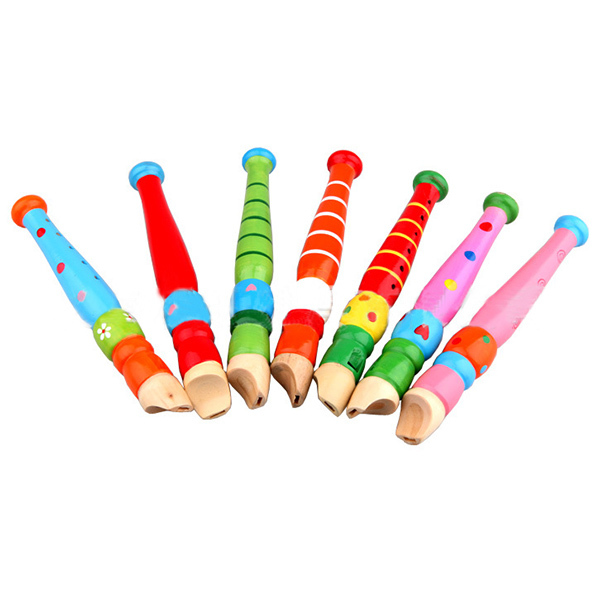 Fun Baby Kids Wooden Flute Whistle Early Musical Educational Toys Colorful New Wholesale(China (Mainland))