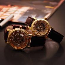 Relogio Fashion Men's Women Couples Quartz Watch Imitation Mechanical Hollow Out Big Dial Luxury Dress Wristwatch Leather strap