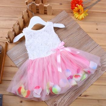 Kids Baby Girls Beautiful Flower Dress Princess Summer Sleeveless Mini Tutu Dress Pink Yellow Red Baby Girls Dress