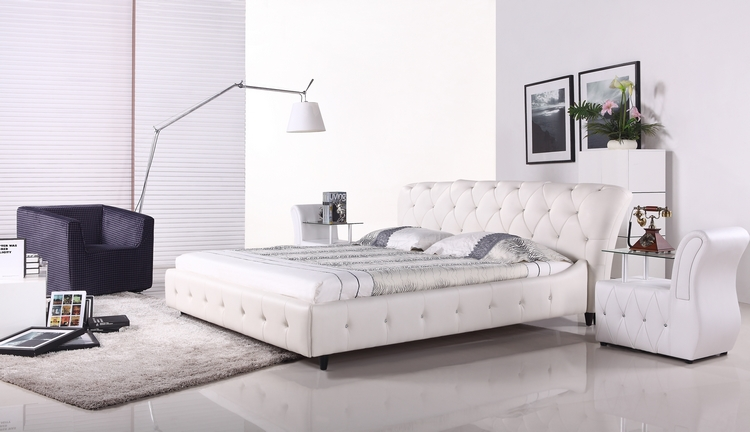 Bedroom Bed, European Modern Design, Top Grain Leather, King / Queen Size Soft Bed with Bedside cabinet, Crystal Embed Bed A056(China (Mainland))