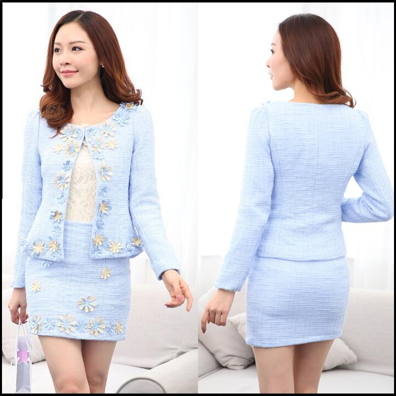 Buy plus size 3xl blue skirt suit office for Office uniform design 2015