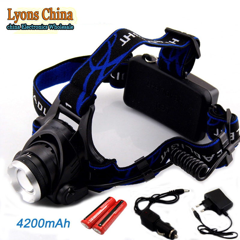 Hiking Light High Power CREE XML T6 2000 Lumens Zoom Rechargeable Head Lamp LED Headlamp +2*18650 Battery + AC/Car Charger<br><br>Aliexpress