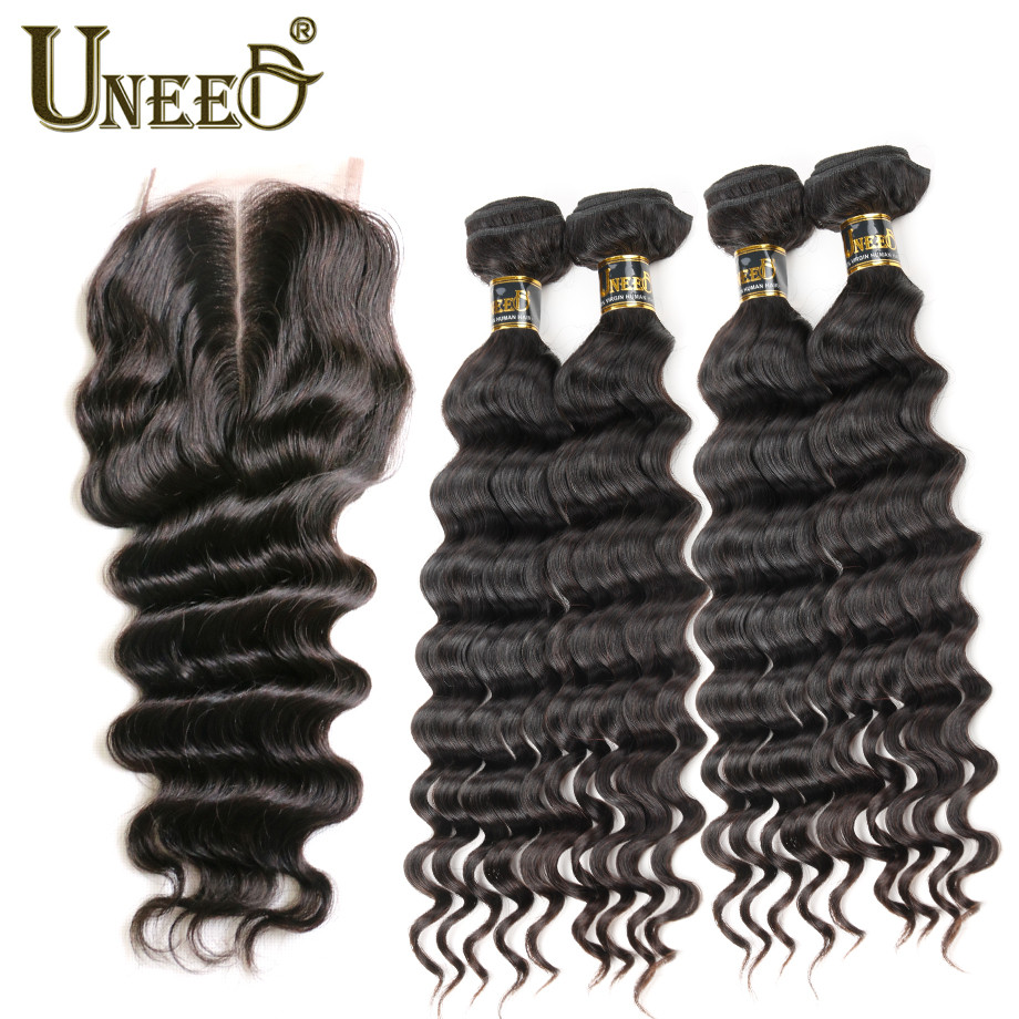 4Pcs Brazilian Loose Deep Wave With Closure Queen Hair Brazilian Deep Wave With Closure Cheap Human Hair with Closure Deep Curly