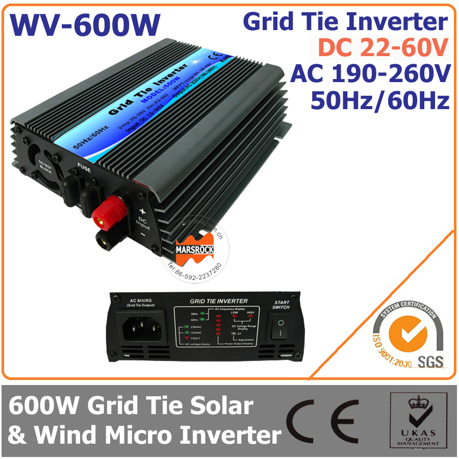 600W 22-60VDC 190-260VAC Grid Tie Micro Inverter for 700W Small Solar or Wind Power System Used at Home(China (Mainland))