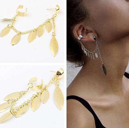 12pcs New 2015 Fashion gold Silver Leaf Leaves ear cuff for Women/Girl's jewelry gifts cool chain link contact clip earring(China (Mainland))