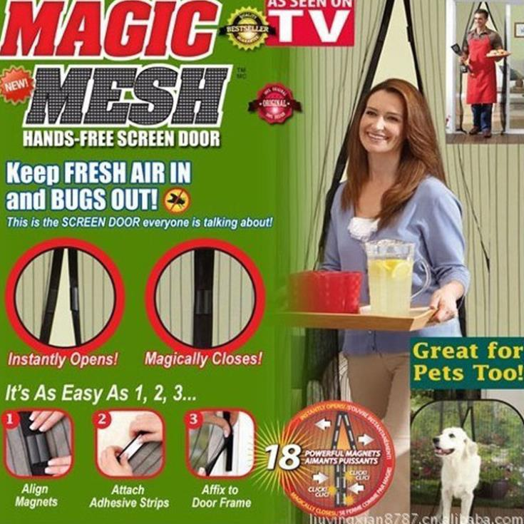 2015 Hot Sale Screen Door Curtains Magic Mesh mosquito net on magnets Magnetic Anti Mosquito Bug Divider Curtain(China (Mainland))