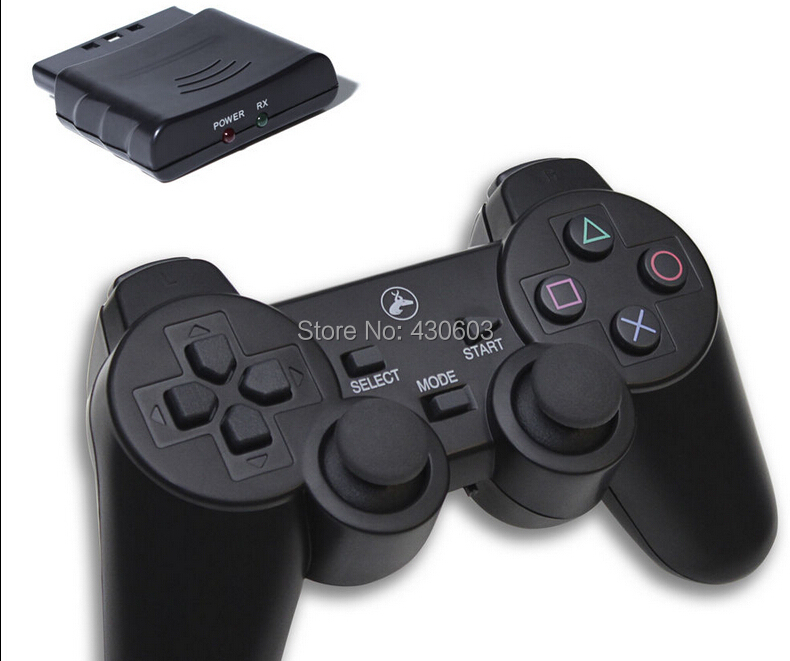 New Black Wireless Shock Game Controller for Sony PS2 wireless controller Free Shipping()