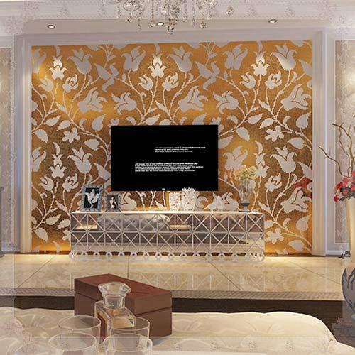Гаджет  European Crystal Glass Mosaic Tiles Gold Mirror Turmeric Floral Wallpaper Puzzle Kitchen TV Backsplash Wall Tile Home Decor Gold None Строительство и Недвижимость