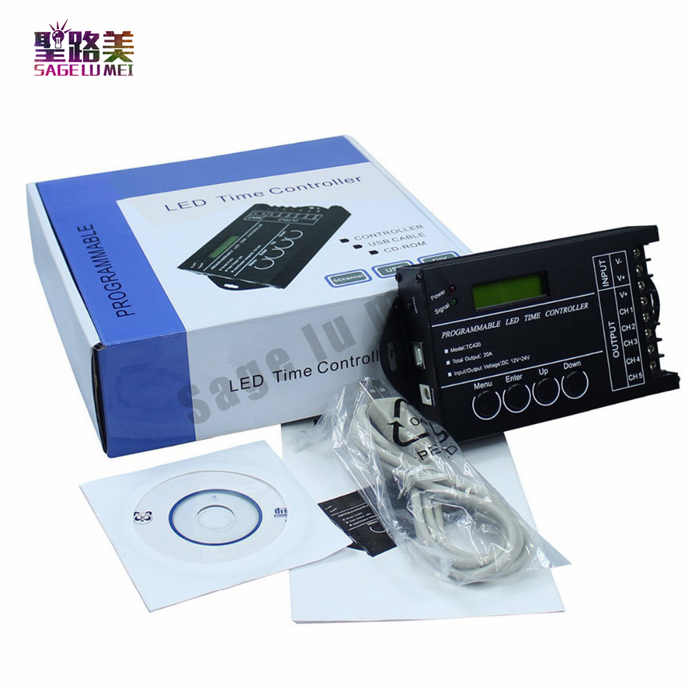 Free Shipping Time programable RGB LED Controller Dimmer TC420 DC12V/24V 5Channel Total Output 20A Common Anode Programmable(China (Mainland))