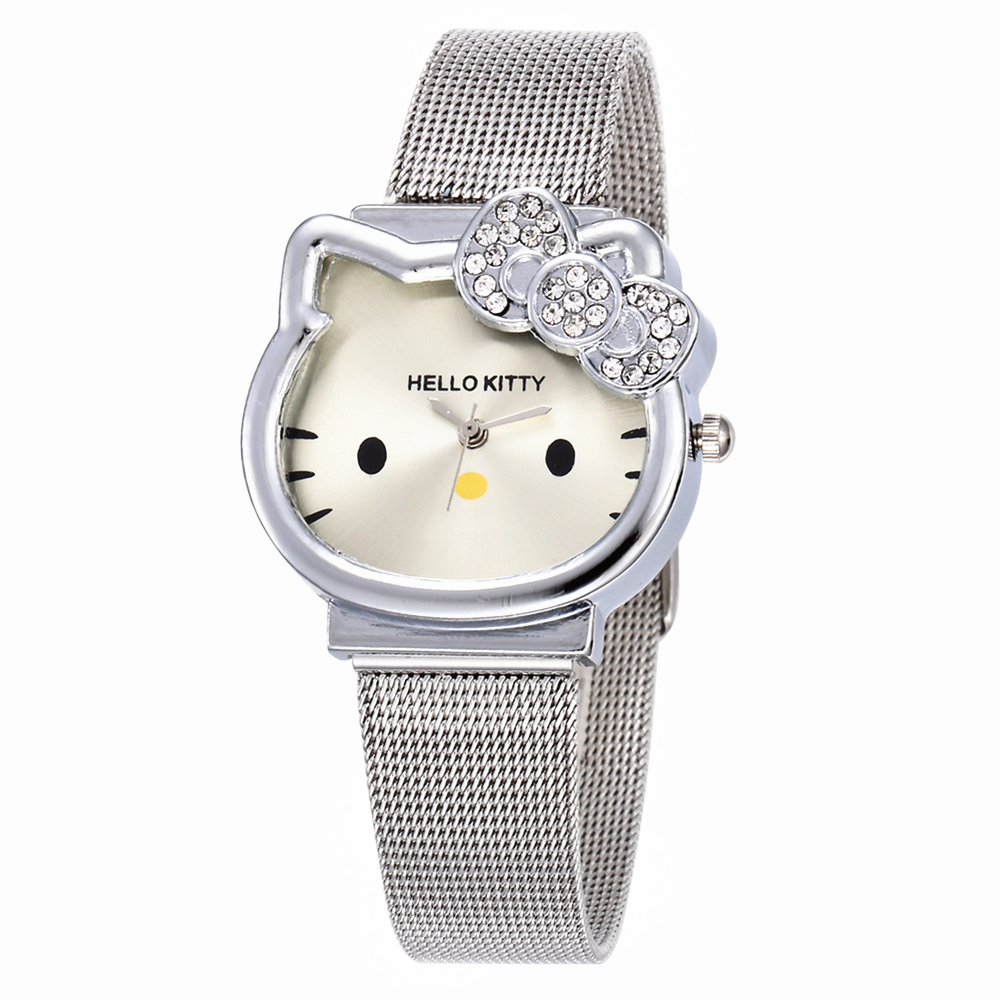 Cat Quartz Hello Kitty Watch Women Luxury Fashion Lady Girl Silver Stainless Steel Net Band Cute Wristwatch Crystal Hour Gold(China (Mainland))