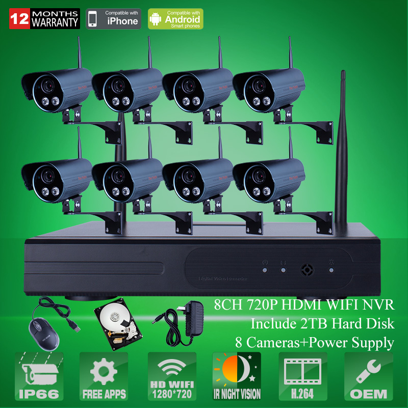 Plug And Play 8CH Wireless NVR CCTV System 2TB HDD P2P 720P IP Camera WIFI Outdoor 2 Array IR Home Security Surveillance Camera<br><br>Aliexpress