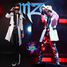 Buy 2015 Fashion Male gd style White slice Spelling Long design Leather Jacket DJ singer performance wear for $108.80 in AliExpress store