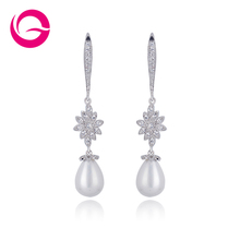 Fashion Accessories Vintage Jewelry Micro Inlay AAA  Cubic Zirconia Wedding Dangle Pearl Earrings GLE4471(China (Mainland))