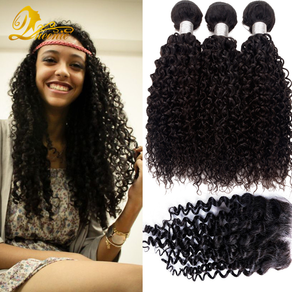 8a Brazilian Kinky Curly Virgin Hair With Closure Sexy Formula Hair With Closure Tissage Bresilienne Avec Closure Curly 4pcs<br><br>Aliexpress