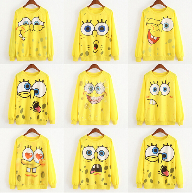 2015 Cute Sweatshirts Character Pullovers Women Casual SpongeBob Smiley Printed Sweatshirts Casual Girl Pullover(China (Mainland))