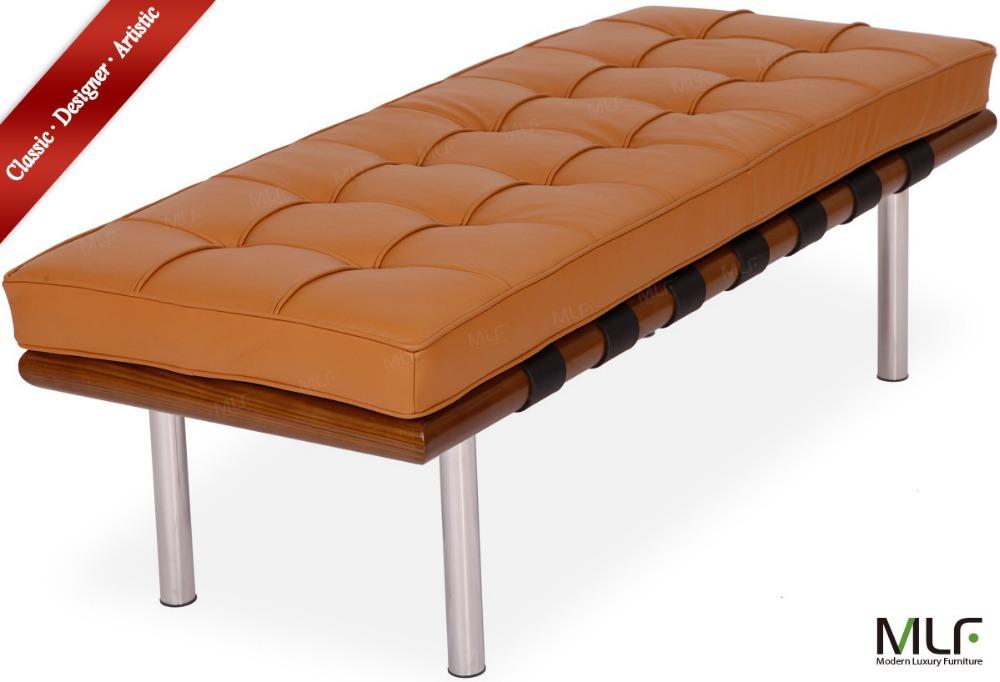 MLF Barcelona Bench (132CM). High Resilient Foam. Light Brown Italian Leather. Breathability, Durable. Mattress Detachable.(China (Mainland))