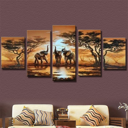 100% Handmade Modern Landscape Oil Painting On Canvas Home Decoration Wall Art Elephant Sun Pictures Modern On Canvas 5pcs/set(China (Mainland))