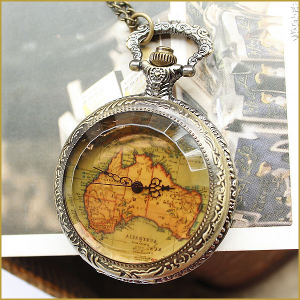 Hot Sale Vintage Pocket Watches With Chain Antique Style Flower Map Shape Glass Pocket Watch 15DZ105(China (Mainland))