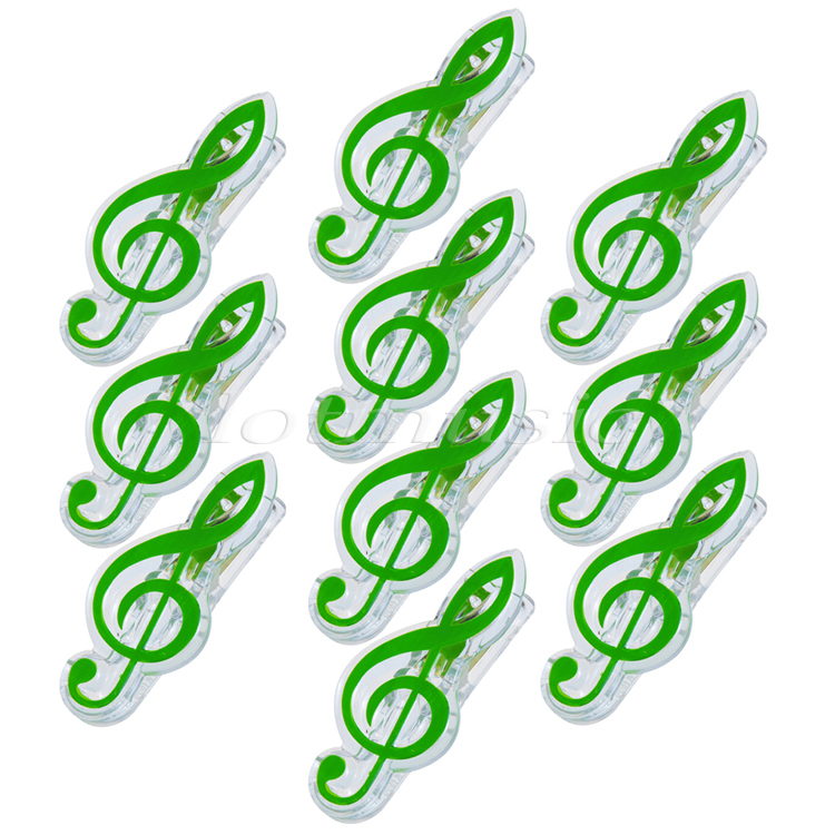 10pcs Green Plastics Music Note Clip Music Clip Book Page Clip Music Stationary Length 2-3/4(China (Mainland))