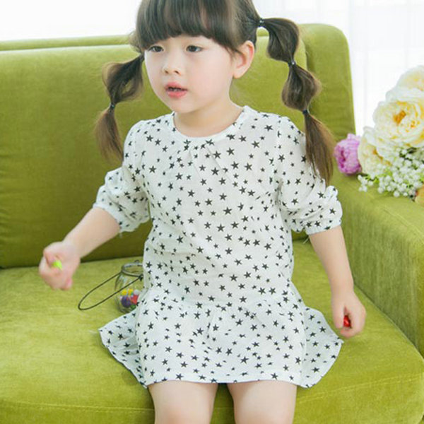 Retail Wholesales, Baby Girl Star Printed 3/4 Sleeve T-Shirt Kids Pleated Long Tops 2-7Y(China (Mainland))