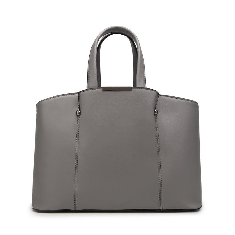 solide grau geniune leder business handtasche f r frauen. Black Bedroom Furniture Sets. Home Design Ideas