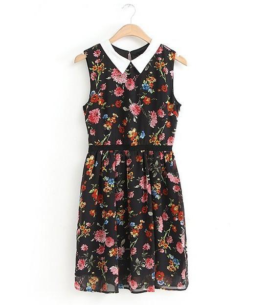 2015 Cute sleeveless peter pan collar brand women chiffon hollow out lace casual dress vestido de festa fake designer clothes(China (Mainland))