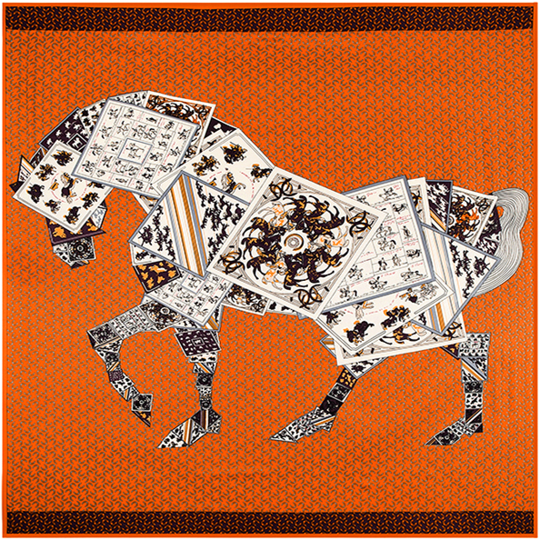 100% Silk Euro Brand Style Women Poker Joint Horse Leopard 130cm*130cm Silk Square Scarf Femal Spring New Fashion Design Shawls(China (Mainland))