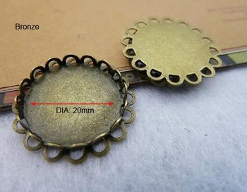 20pcs/lot New Wholesale Antique Bronze Charm Base Pendant Settings Jewelry Findings 20mm Cabochon Pendant Settings