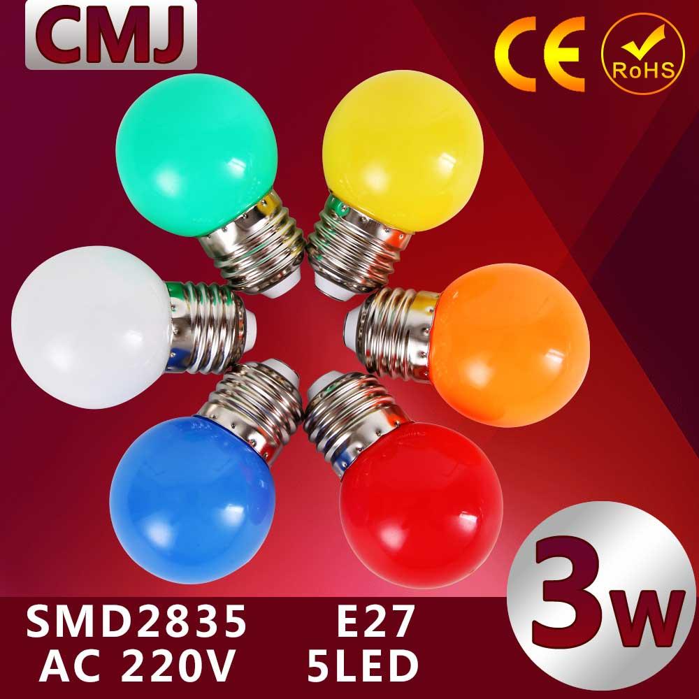 1pcs Home Lighting Colorful Led Bulb E27 3w Energy Saving White Red Blue Green Yellow Orange Pink Lamp Light Smd 2835(China (Mainland))