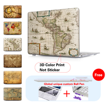 Old World Map Laptop Computer Bag For Apple Mac Macbook Pro 15 For Macbook 12 Inch Case + Silicone Keyboard Cover A1466