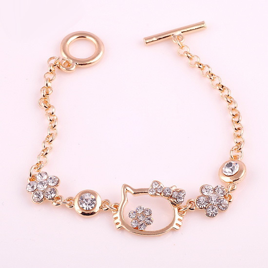 Free shipping 10 pcs/lot, Hello kitty lovely bracelet Gold plating with CZ diamond bracelets Women's fashion jewelrys GIFT