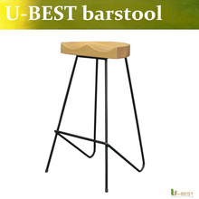 U-BEST Replica High stool ,bent solid steel leg with solid wood seat,solid wood bar chair ,Home & Kitchen counter stool(China (Mainland))