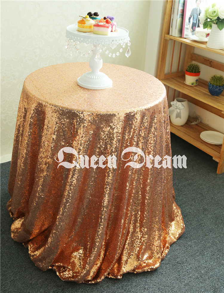 Good News!! 125cm Luxury Shiny Round Rose Gold Tablecloth,Sequin Fabric Tablecloth Size & Color are available(China (Mainland))