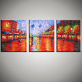 Abstract modern 3 piece canvas wall Paulette painting oil painting on canvas knife handmade for living