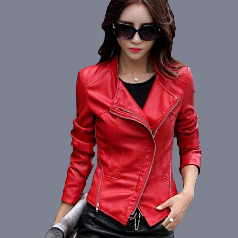 2016 Autumn Women Leather Clothing Female Slim Leather Jacket Women Motorcycle Clothing Outerwear Girls Plus Size 3XL Coat red(China (Mainland))